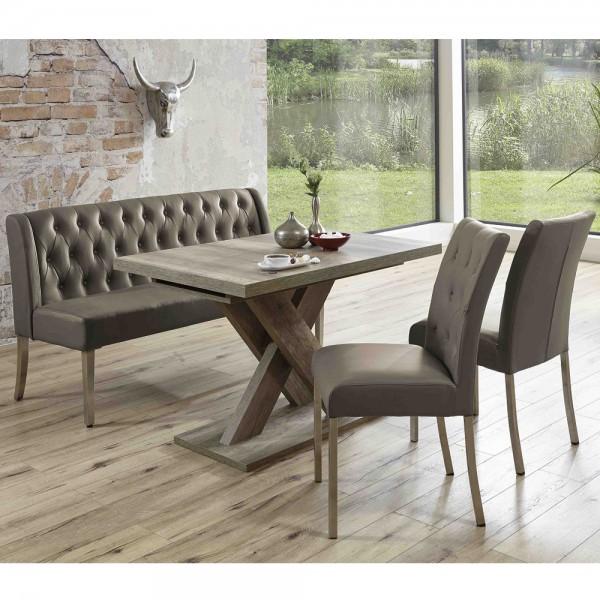 Bankgruppe Essgruppe LIVERPOOL Tischgruppe Bank Tisch Stühle Wildeiche cappuccino