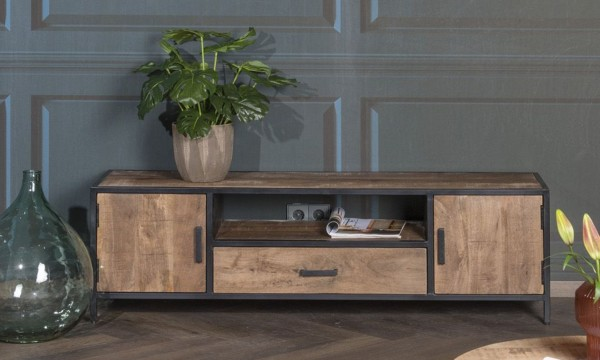 TV Möbel Sturdy 160 cm Mangoholz Metal Lowboard