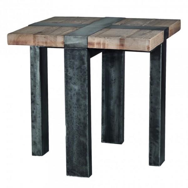 Industrial Beistelltisch 61 x 61 cm Holz Metall Ecktisch Anstelltisch Tisch