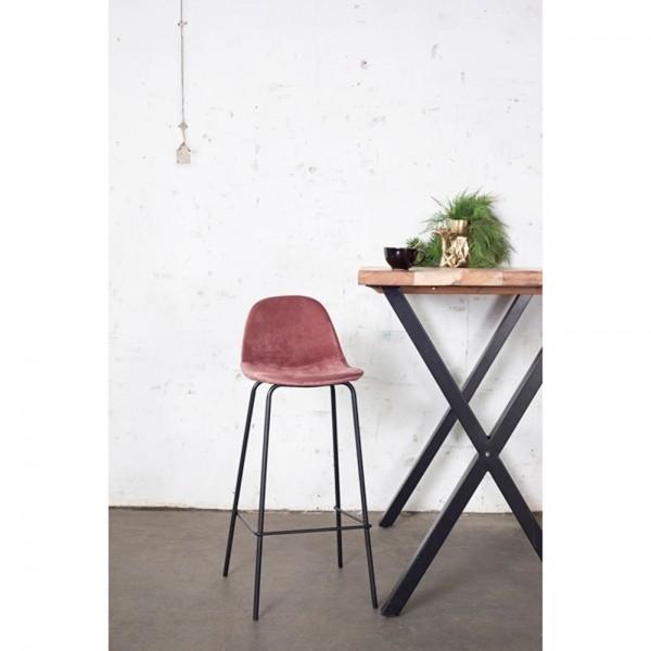 Barhocker SAAR H Sitzhöhe 66 cm Samt pink Velvet Barstuhl