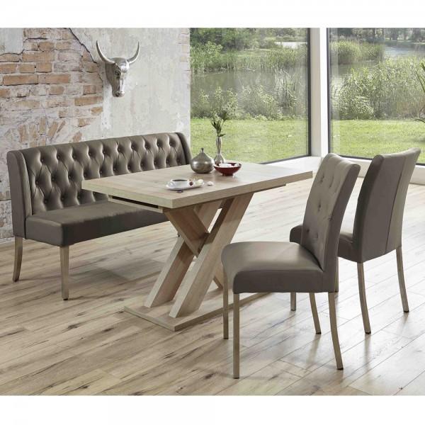 Bankgruppe Essgruppe LIVERPOOL Tischgruppe Bank Tisch Stühle Eiche cappuccino
