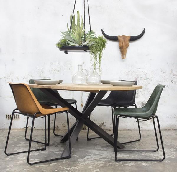 Esstisch JIM Ø 130 cm Massivholz Metallgestell Tisch Esszimmertisch Dinnertisch