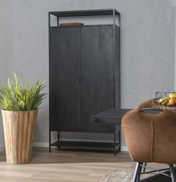 Schrank Hochschrank Kala H 210 cm 2 Türen Mangoholz schwarz