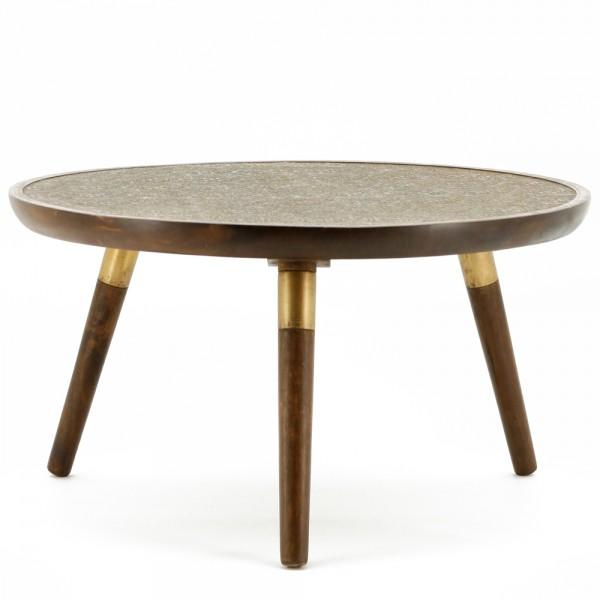 Beistelltisch JAFAR Ø 70 cm braun Tisch Kaffeetisch Anstelltisch Mango massiv