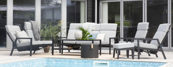 Lounge Garten Set BELFORT Gartengruppe Aluminium schwarz i
