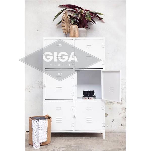 Industrie Design Kommode Aufbewahrungsschrank 6 Türen Metall Schrank weiß