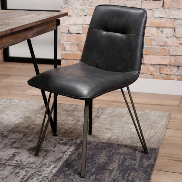 Esstischstuhl Spine Kunstleder schwarz Stuhl Esszimmerstuhl