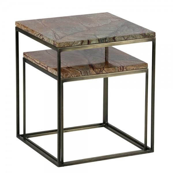 2er Beistelltisch Set METALLIC Tischset Anstelltisch Sofatisch Marmor Metall