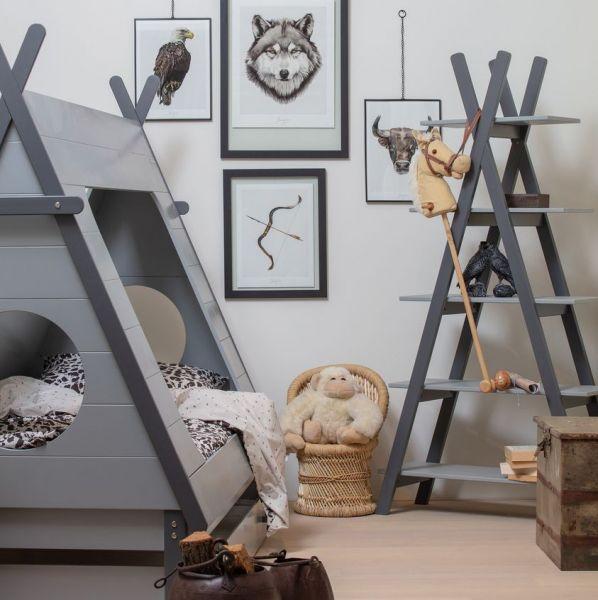 woood Kinderbett TIPI Bett 200 x 90 cm grau