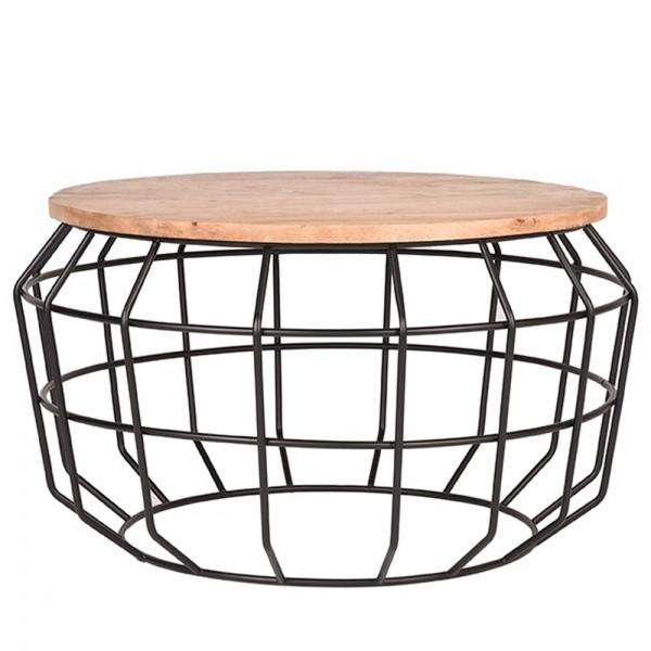 Couchtisch Pixel Ø 77 cm Massivholz Metall schwarz Sofatisch Beistelltisch Tisch