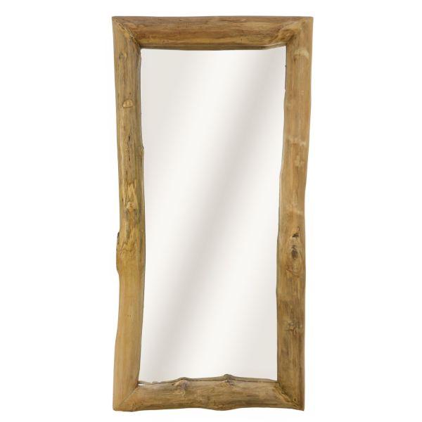 Wandspiegel 120 x 60 cm natur Spiegel recheckig Teak Massivholz Holz Mirror