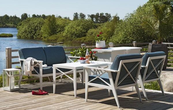 4 tlg. Gartenmöbel Lounge Gruppe Aluminium weiss incl. blaue Kissen