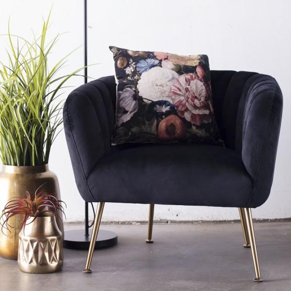 Lounge Sessel Amy Samt Velvet schwarz