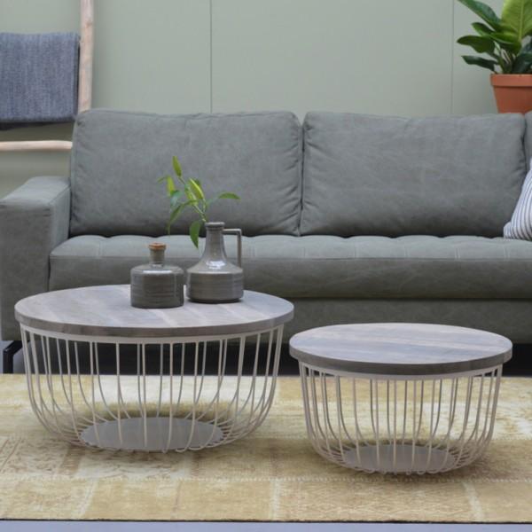 2er Set Couchtisch KATE Metall Mango Satztische Beistelltisch Sofatisch Tische