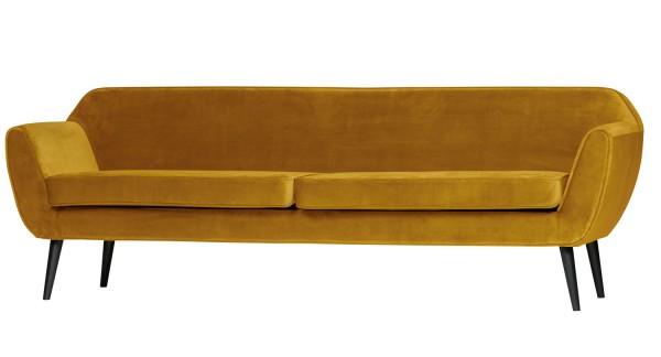woood 4 Sitzer Sofa Rocco Ocker B 230 cm Samt