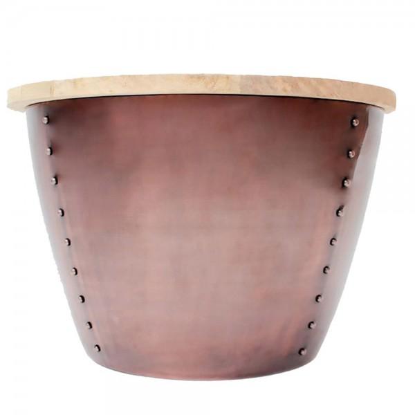Couchtisch INDI kupfer Ø 60 cm Metall Mango massiv Beistelltisch Sofatisch Tisch