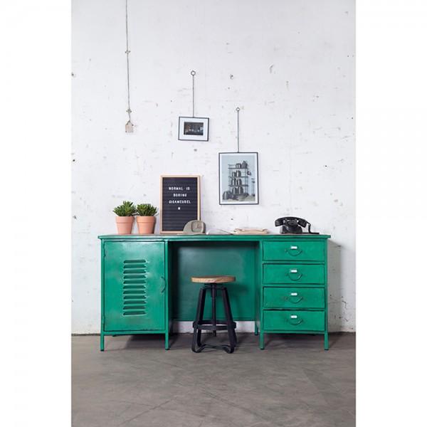 Industrie Schreibtisch Sekretär Metall grün