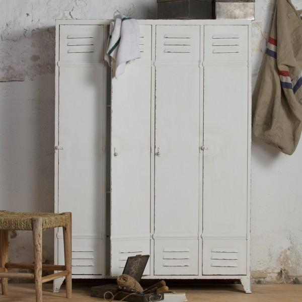 Spindschrank DISCOVER Metallschrank 4 Türen Aufbewahrungsschrank Vintage weiß