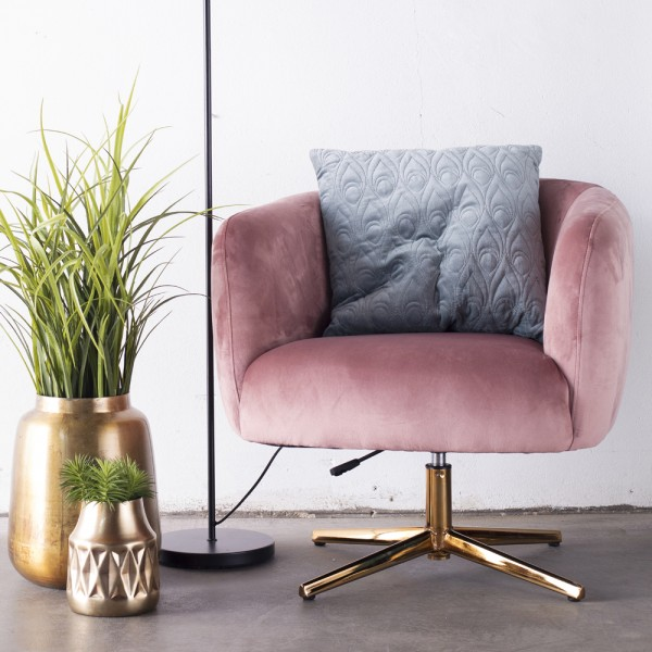 Lounge Sessel Lisa Samt rosa Gestell Gold
