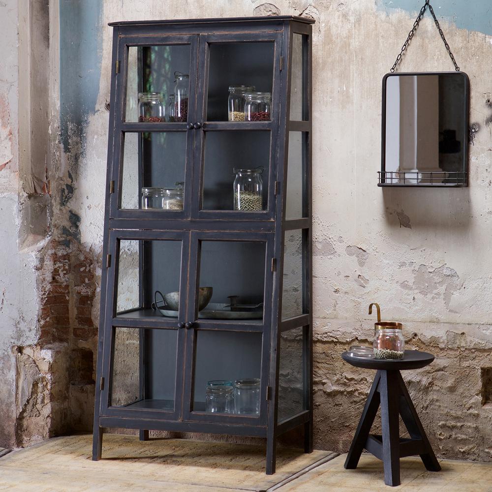 vintage vitrinenschrank herritage schwarz schrank vitrine arztschrank massivholz new maison. Black Bedroom Furniture Sets. Home Design Ideas