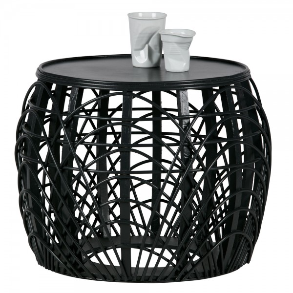 Beistelltisch Couchtisch Marit Ø 49 cm Tisch Kaffeetisch Massivholz schwarz