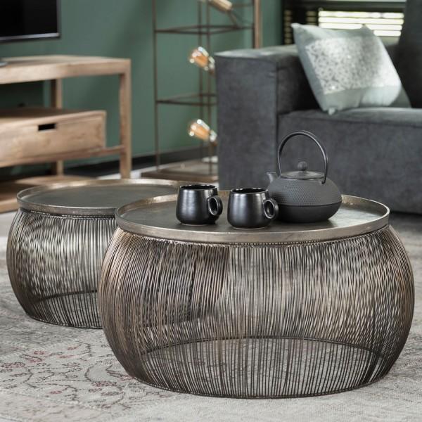 2er Set Couchtisch Drahtgestell Bronze Tisch Sofatisch Tischset Anstelltisch