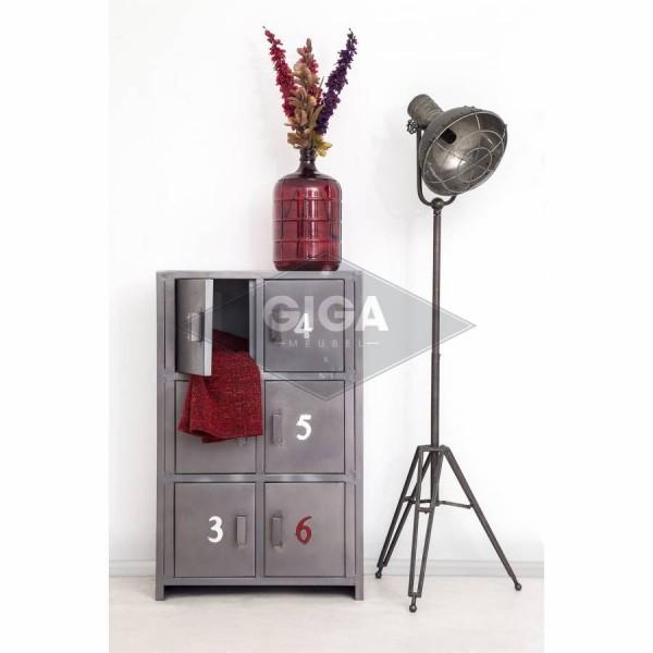 Industriedesign Kommode 6 Türen mit Ziffern Metall Silbergrau Sideboard Schrank