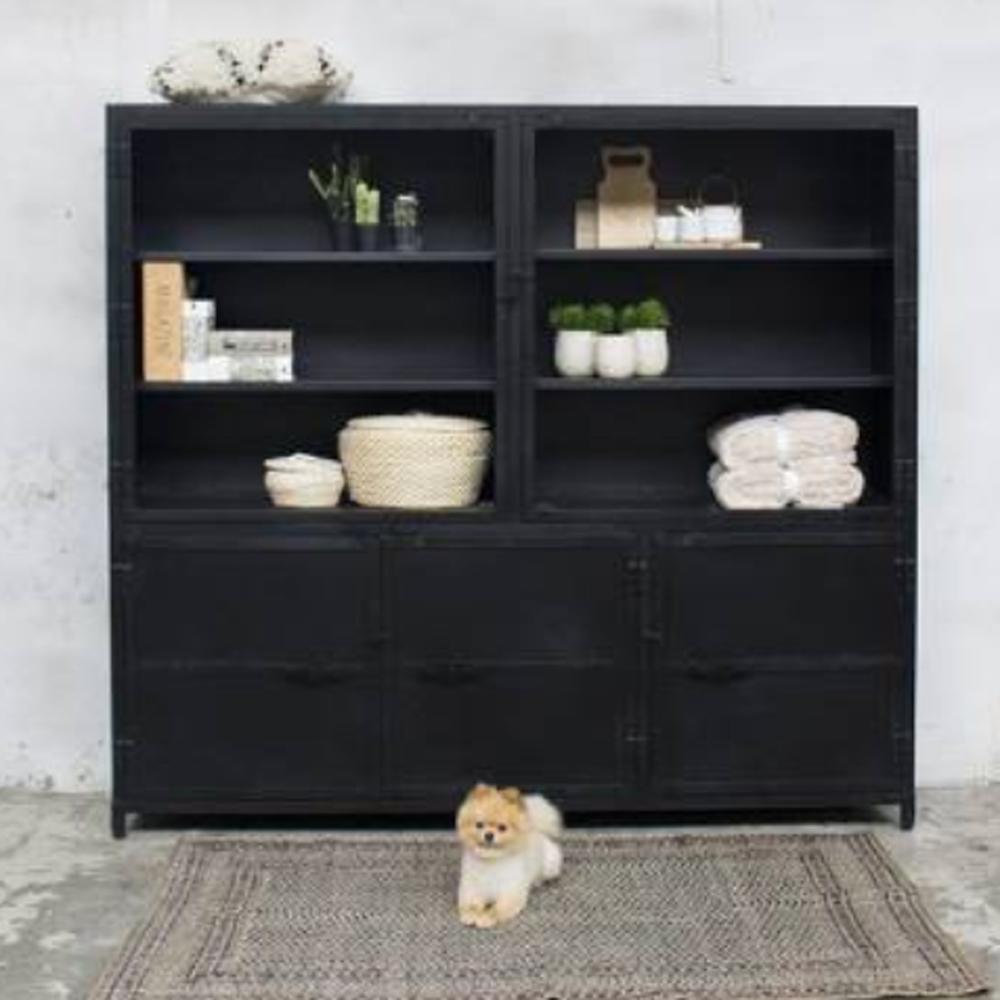 vitrinenschrank beau schwarz industrie schrank vitrine metallschrank vintage metall new. Black Bedroom Furniture Sets. Home Design Ideas