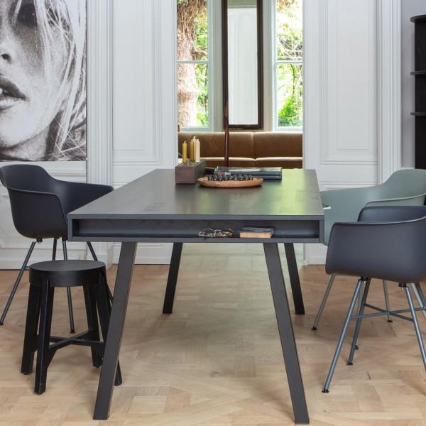 Esstisch Trian 220 x 90 cm Esche Black Night Beine A-Form Esszimmertisch Tisch