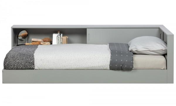 woood Eckbett Connect Bett 213 x 118 cm Kiefer grau