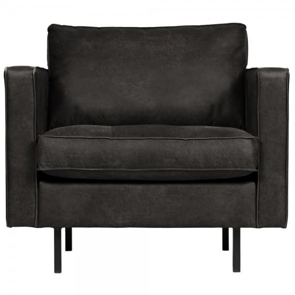 1,5 Sitzer Sessel Rodeo Leder Vintage schwarz Lounge Armlehnsessel Fernsehsessel