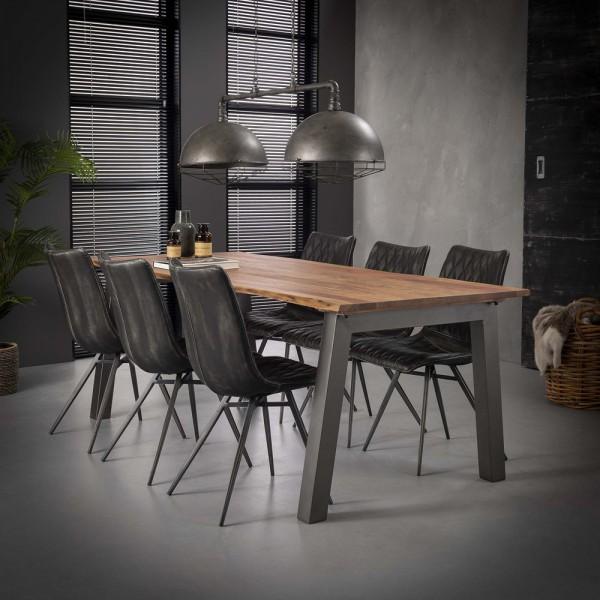 Esstisch 210 x 95 cm Baumkante Akazie Metall Esszimmertisch Dinnertisch Tisch