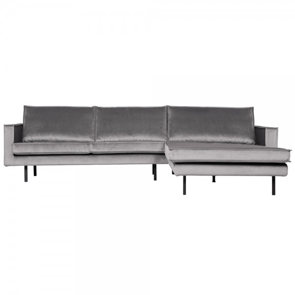 Eckgarnitur Rodeo Samt hellgrau Couch Sofa Ecksofa Longchair rechts