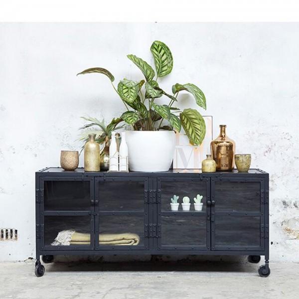 Industrie Design TV Möbel 140 cm Lowboard Fernsehtisch Sideboard vintage schwarz