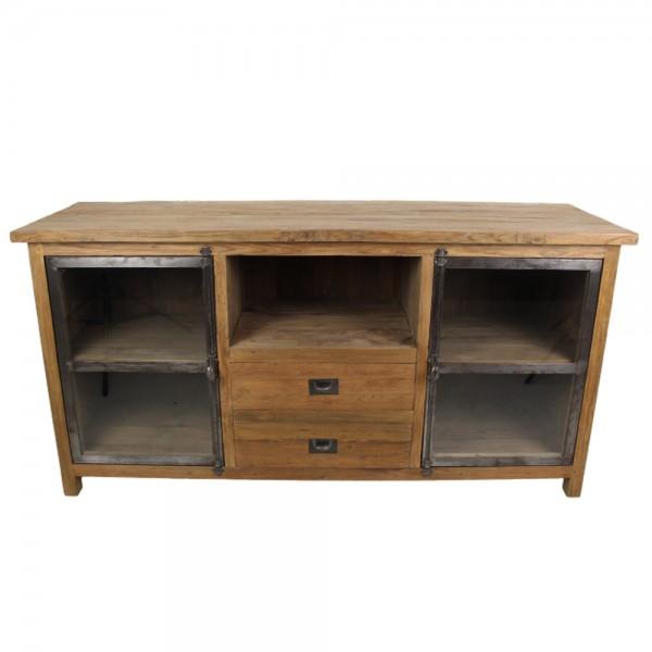 Vintage TV Möbel B 160 cm Lowboard Türen 2 Schubladen Fernsehtisch Kommode Rack