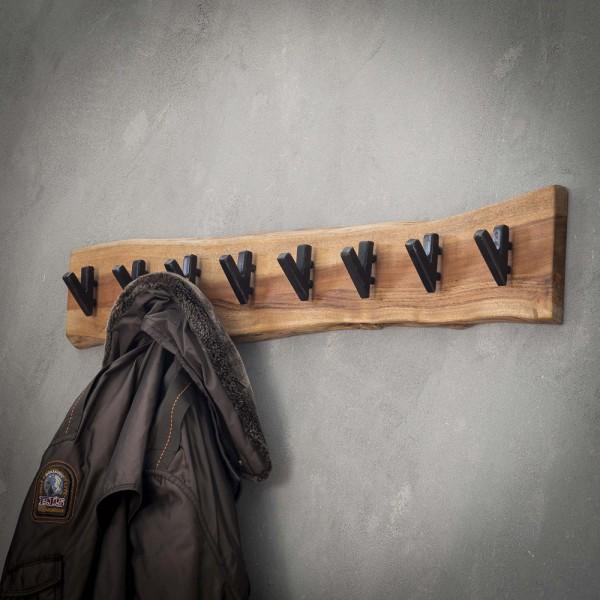 Wandgarderobe Hängegarderobe 8 Haken 90 cm breit Akazie Holz Metall Garderobe