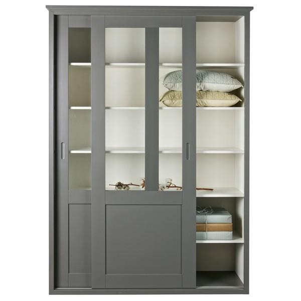 Schrank mit Glas-Schiebetüren VINCE grau Vitrine Küchenschrank Bücherschrank