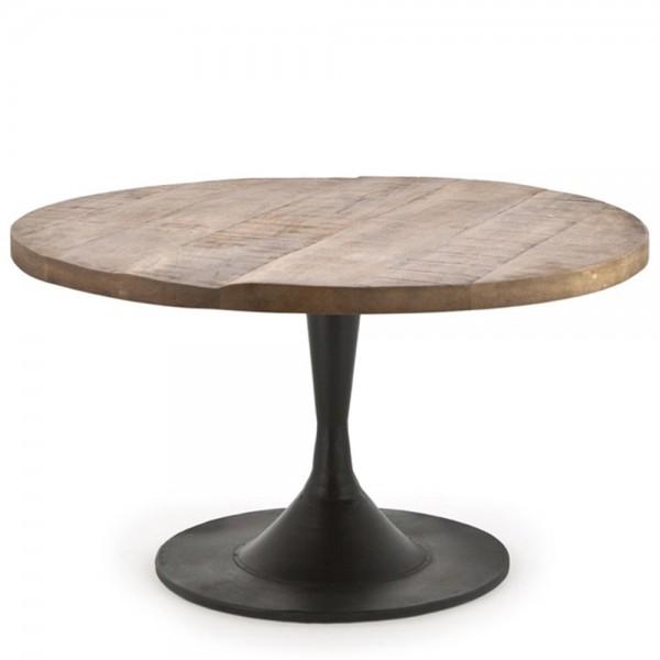 Beistelltisch Couchtisch TORNADO Ø 70 cm Tisch Kaffeetisch Metall Holz braun