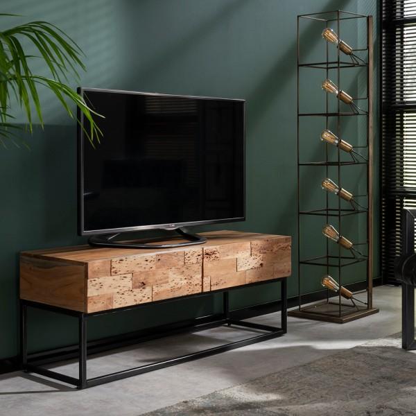 TV Möbel Milla 120 cm Schubladen Board Sideboard Kommode Metall Akazienholz