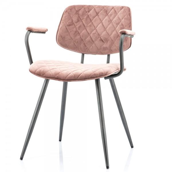 Armlehnstuhl Mandy Samt pink Stuhl Esszimmerstuhl