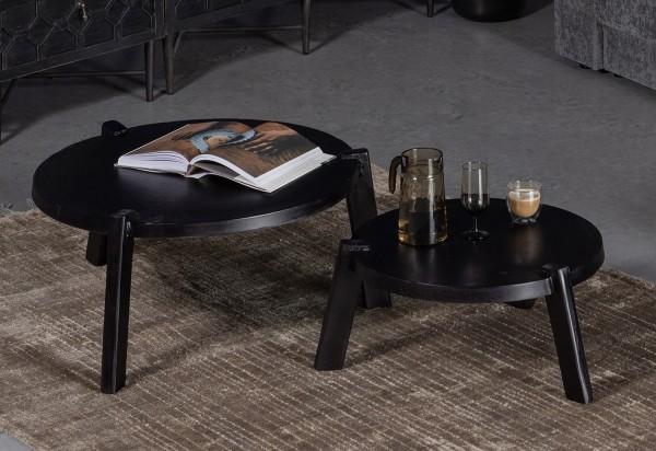2er Set Couchtisch Burly Metall schwarz Sofatisch Tischset Beistelltische