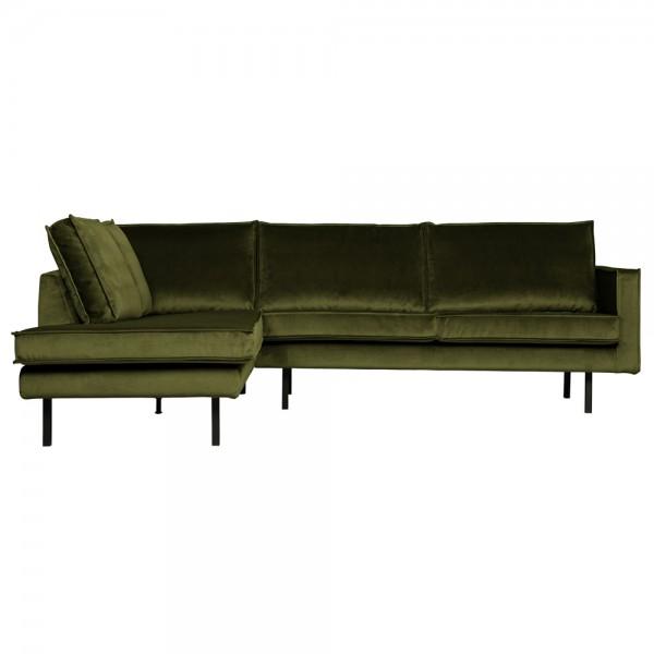 Eckgarnitur Rodeo Samt olive Couch Sofa Ecksofa Longchair links