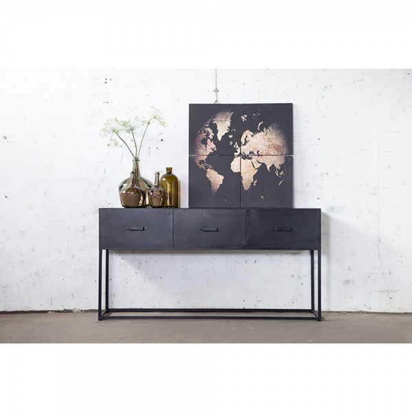 industriedesign sideboard kommode urban 160 cm konsole schwarz metall new maison esto ihr. Black Bedroom Furniture Sets. Home Design Ideas