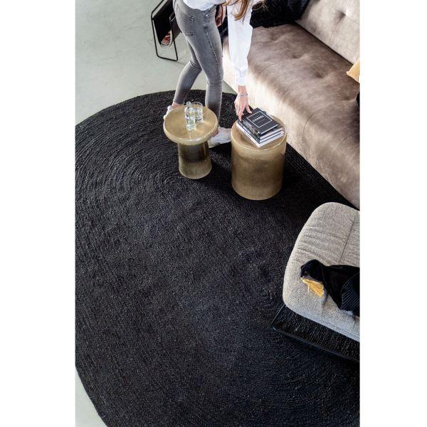 Jute Teppich Ramas 200 x 300 cm oval schwarz Juteteppich