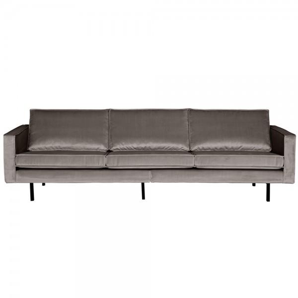 3 Sitzer Sofa Rodeo Samt taupe Couch Garnitur Samtsofa Couchgarnitur