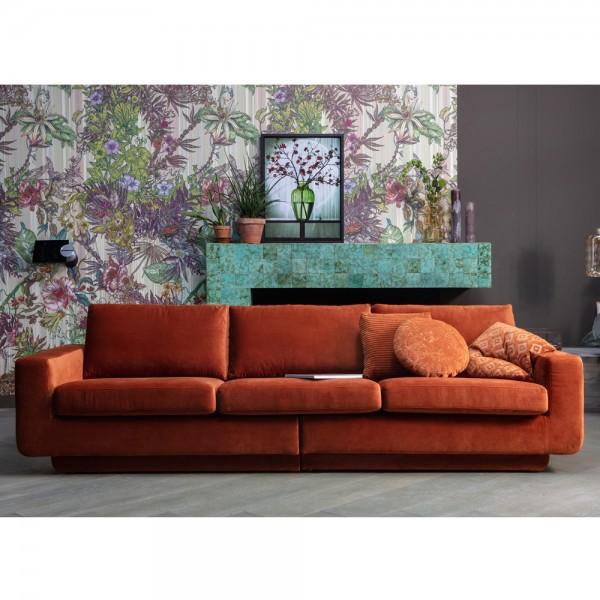 be pure 3 Sitzer Sofa Fame 282 cm Samt Velvet rost Couch