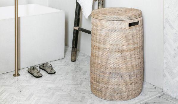 Must-Living Wäschekorb Flores rund Rattan natur