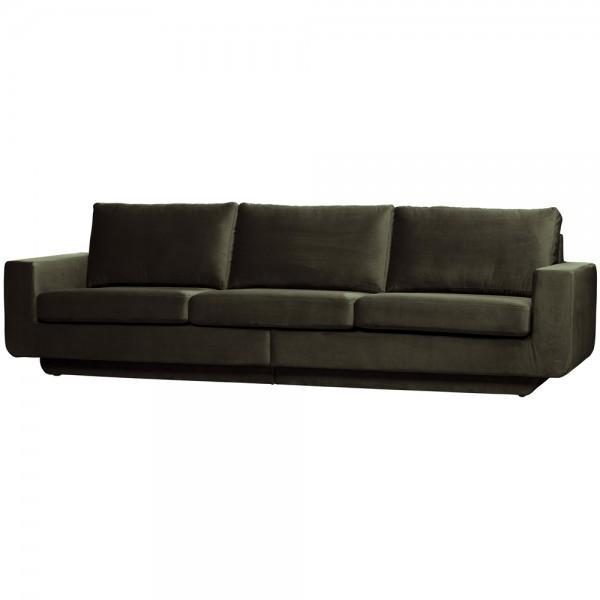 be pure 3 Sitzer Sofa Fame 282 cm Samt Velvet dunkelgrün Couch
