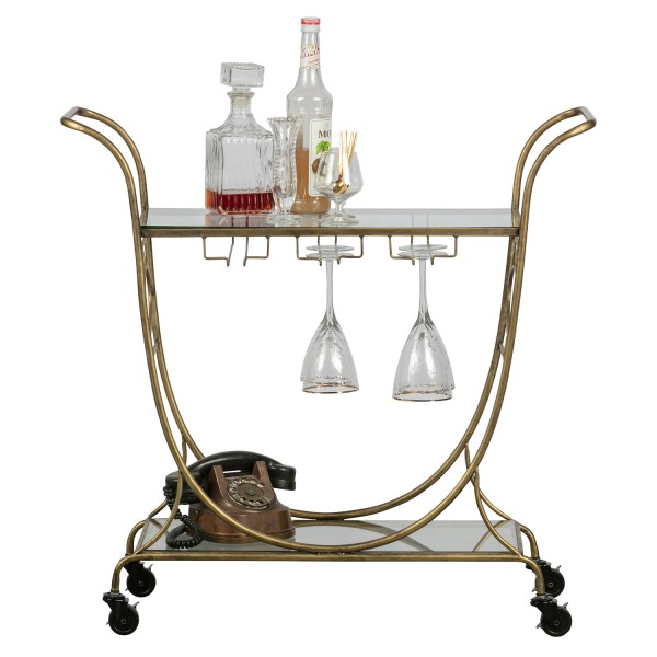 BePureHome Servierwagen Decadent Metall antikmessing Rollenwagen Trolley