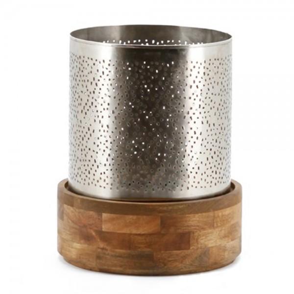 Kerzenständer BAZAR Kerzenleuchter Windlicht Laterne Metall Holz